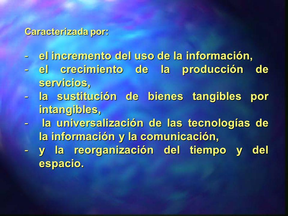 Caracterizada por: -el incremento del uso de la información, -el crecimiento de la producción de servicios, -la sustitución de bienes tangibles por in