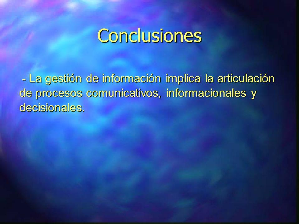 Conclusiones - La gestión de información implica la articulación de procesos comunicativos, informacionales y decisionales. - La gestión de informació