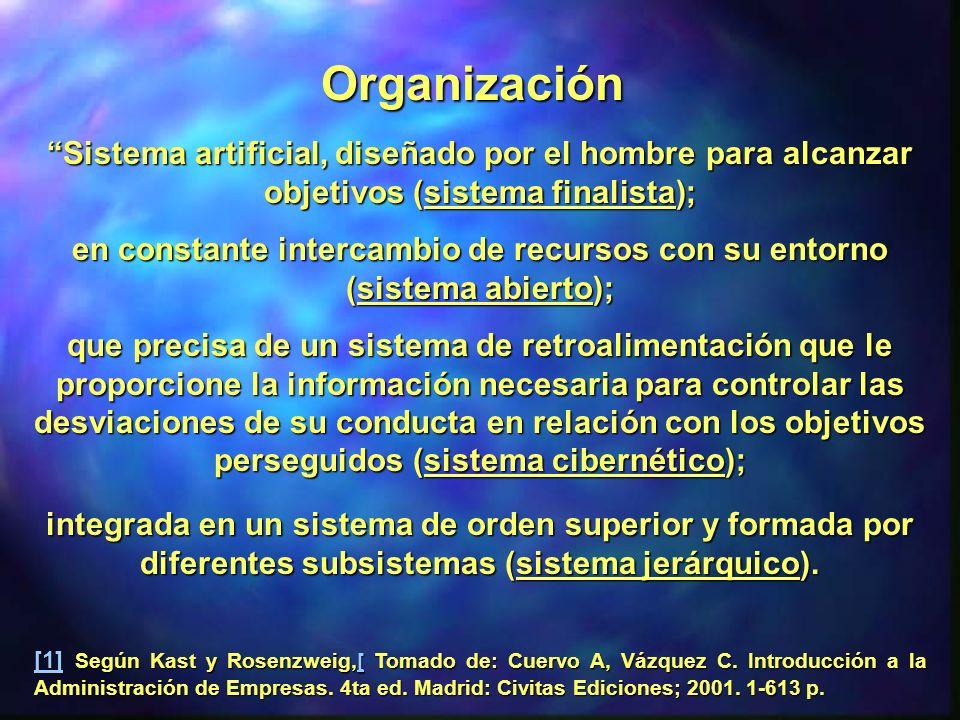 Sistema artificial, diseñado por el hombre para alcanzar objetivos (sistema finalista);Sistema artificial, diseñado por el hombre para alcanzar objeti