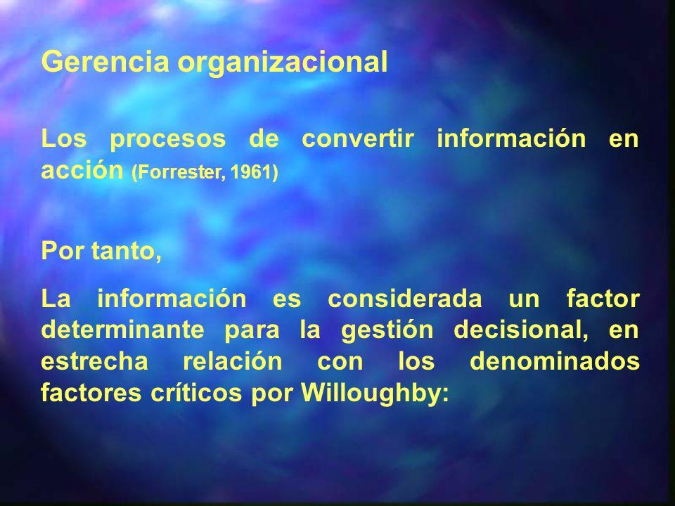 Gerencia organizacional Los procesos de convertir información en acción (Forrester, 1961) Por tanto, La información es considerada un factor determina