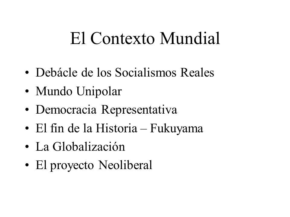 El Contexto Mundial Debácle de los Socialismos Reales Mundo Unipolar Democracia Representativa El fin de la Historia – Fukuyama La Globalización El proyecto Neoliberal