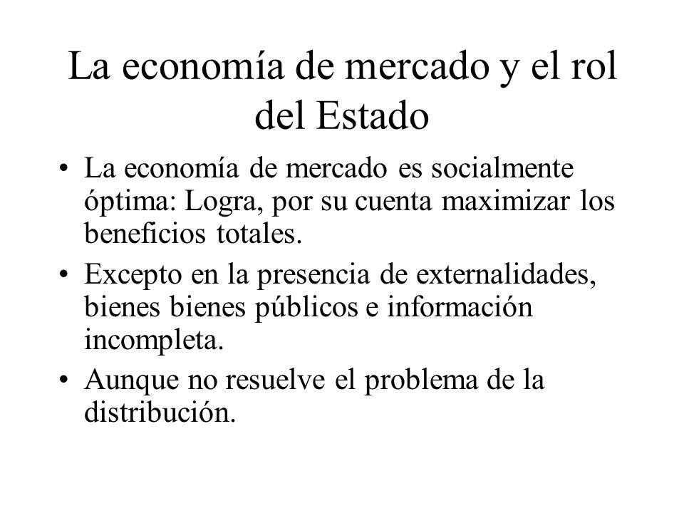 La economía de mercado y el rol del Estado La economía de mercado es socialmente óptima: Logra, por su cuenta maximizar los beneficios totales.