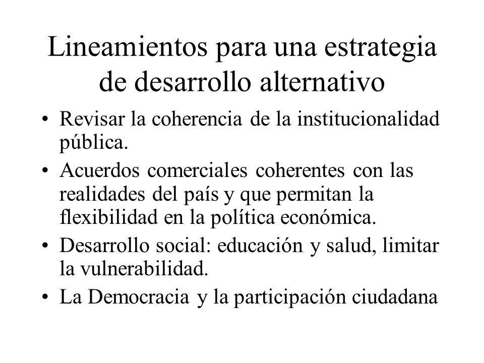 Lineamientos para una estrategia de desarrollo alternativo Revisar la coherencia de la institucionalidad pública.