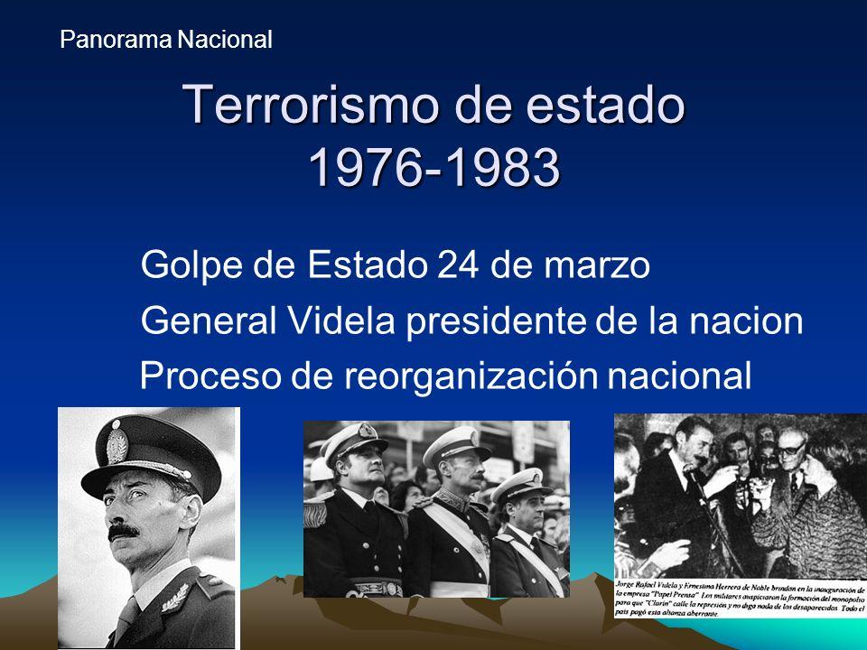 Terrorismo de estado 1976-1983 Golpe de Estado 24 de marzo General Videla presidente de la nacion Proceso de reorganización nacional Panorama Nacional