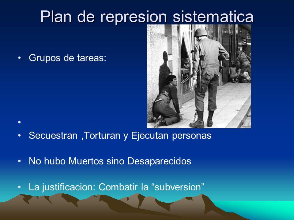 Plan de represion sistematica Grupos de tareas: Secuestran,Torturan y Ejecutan personas No hubo Muertos sino Desaparecidos La justificacion: Combatir