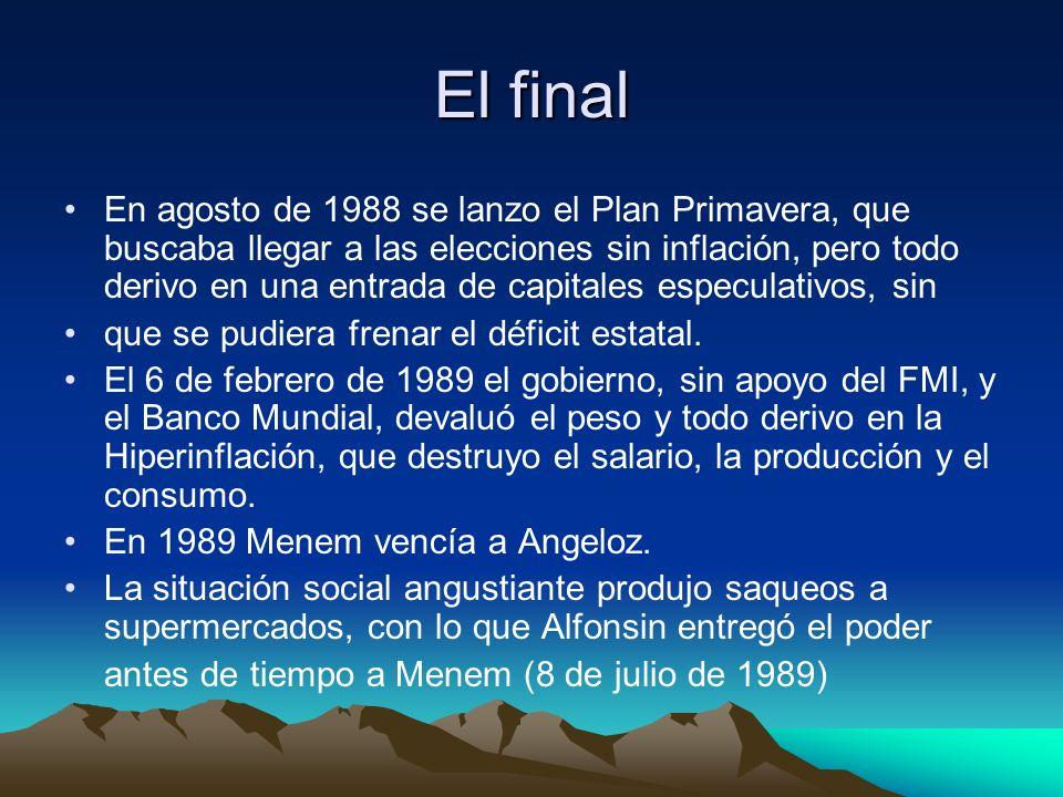 El final En agosto de 1988 se lanzo el Plan Primavera, que buscaba llegar a las elecciones sin inflación, pero todo derivo en una entrada de capitales