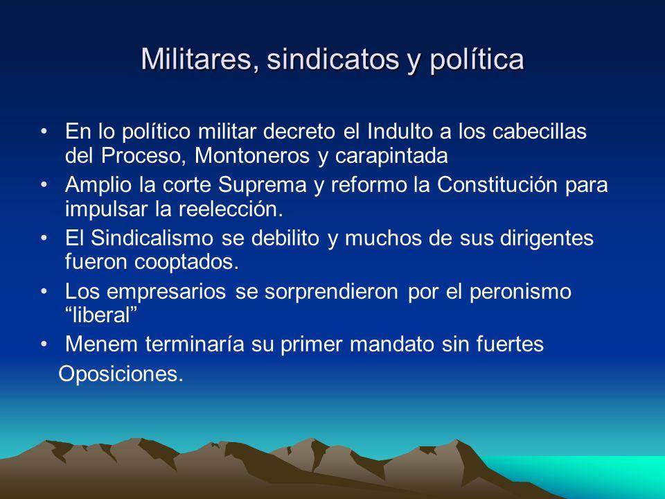 Militares, sindicatos y política En lo político militar decreto el Indulto a los cabecillas del Proceso, Montoneros y carapintada Amplio la corte Supr