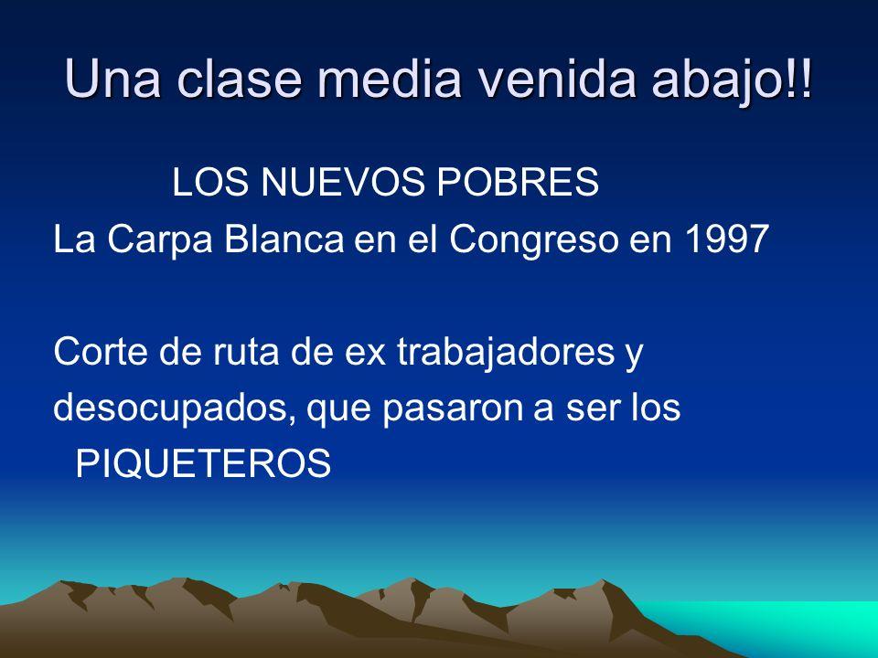 Una clase media venida abajo!! LOS NUEVOS POBRES La Carpa Blanca en el Congreso en 1997 Corte de ruta de ex trabajadores y desocupados, que pasaron a