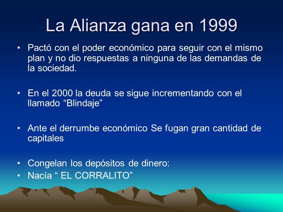 La Alianza gana en 1999 Pactó con el poder económico para seguir con el mismo plan y no dio respuestas a ninguna de las demandas de la sociedad. En el