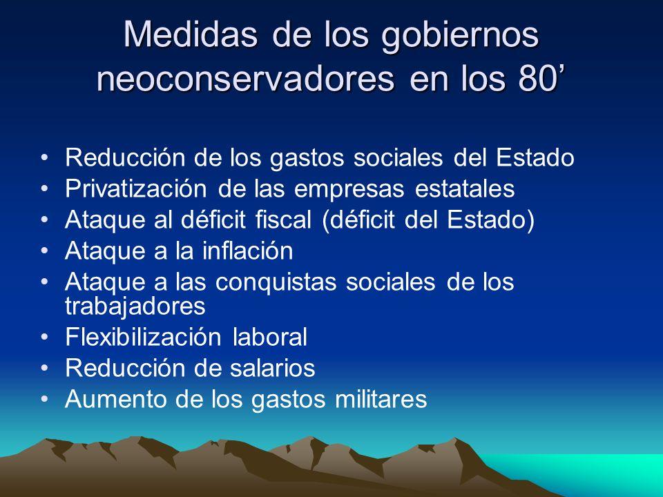 Medidas de los gobiernos neoconservadores en los 80 Reducción de los gastos sociales del Estado Privatización de las empresas estatales Ataque al défi