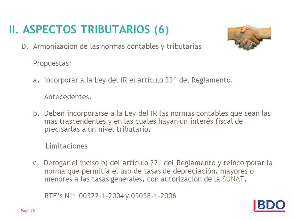 D.Armonización de las normas contables y tributarias Propuestas: a.