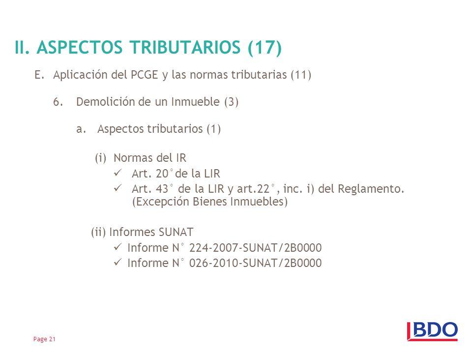 E.Aplicación del PCGE y las normas tributarias (11) 6.Demolición de un Inmueble (3) a. Aspectos tributarios (1) (i) Normas del IR Art. 20°de la LIR Ar