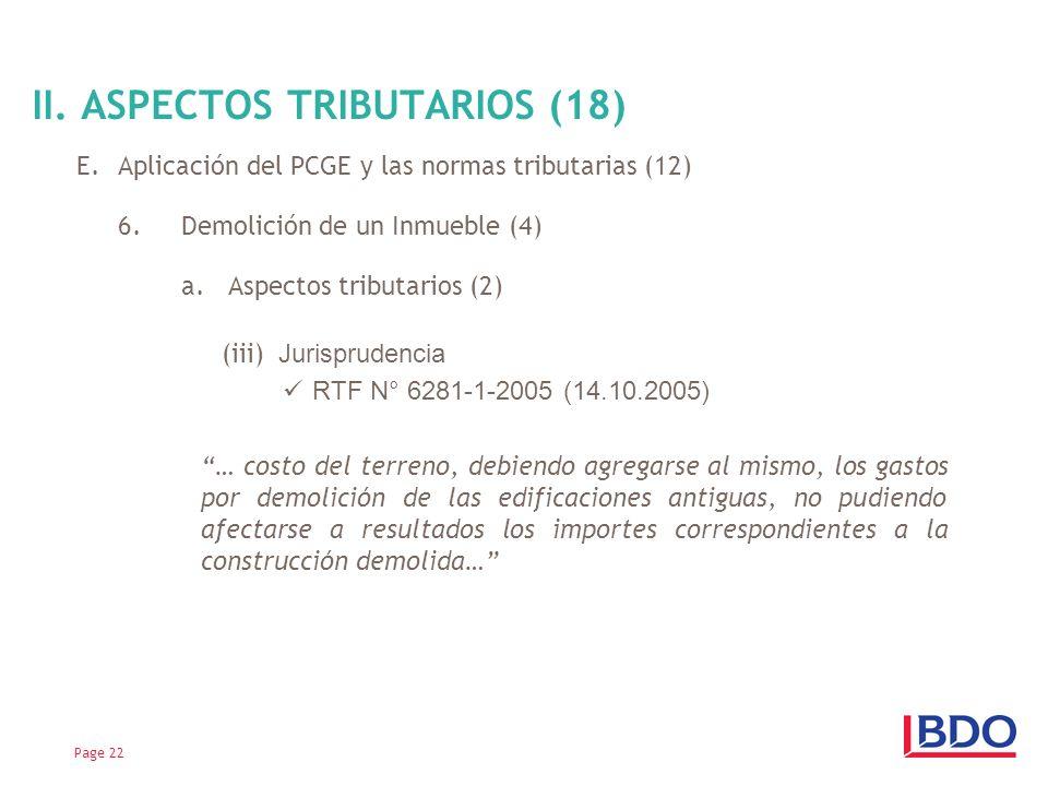 E.Aplicación del PCGE y las normas tributarias (12) 6.Demolición de un Inmueble (4) a. Aspectos tributarios (2) (iii) Jurisprudencia RTF N° 6281-1-200