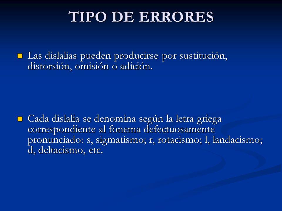 TIPO DE ERRORES Las dislalias pueden producirse por sustitución, distorsión, omisión o adición. Las dislalias pueden producirse por sustitución, disto
