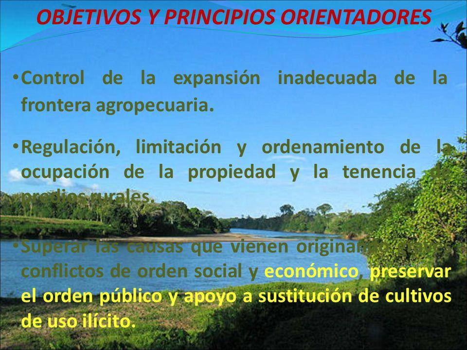 OBJETIVOS Y PRINCIPIOS ORIENTADORES Regulación, limitación y ordenamiento de la ocupación de la propiedad y la tenencia de predios rurales. Control de