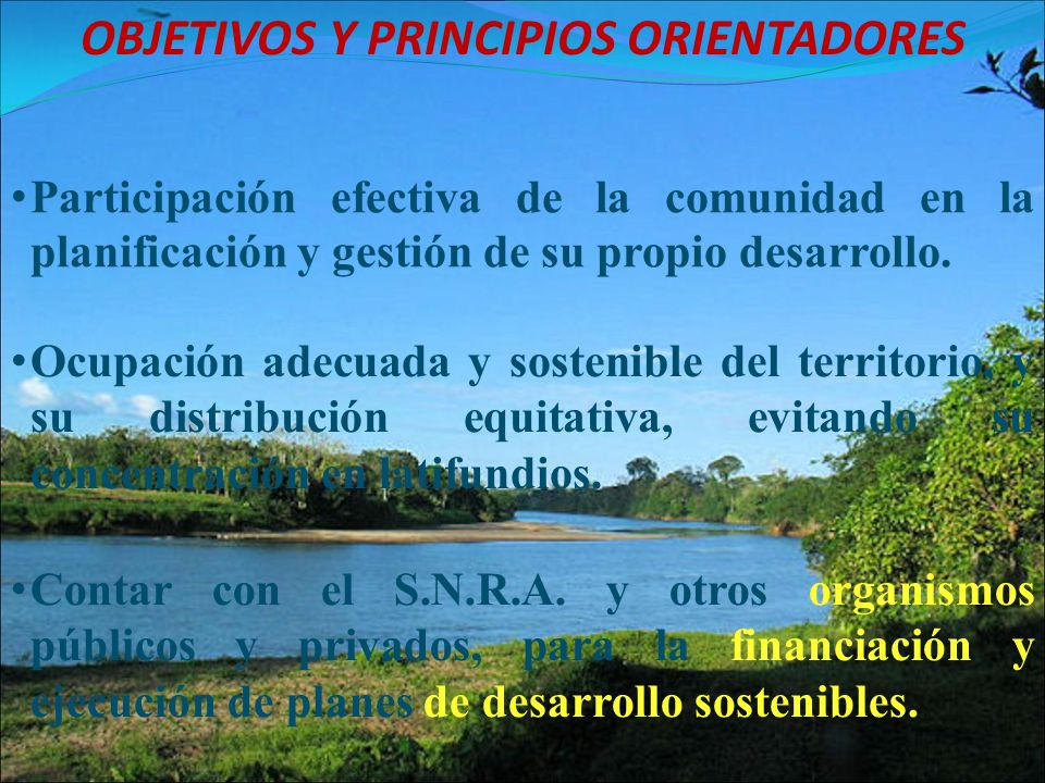OBJETIVOS Y PRINCIPIOS ORIENTADORES Ocupación adecuada y sostenible del territorio, y su distribución equitativa, evitando su concentración en latifundios.