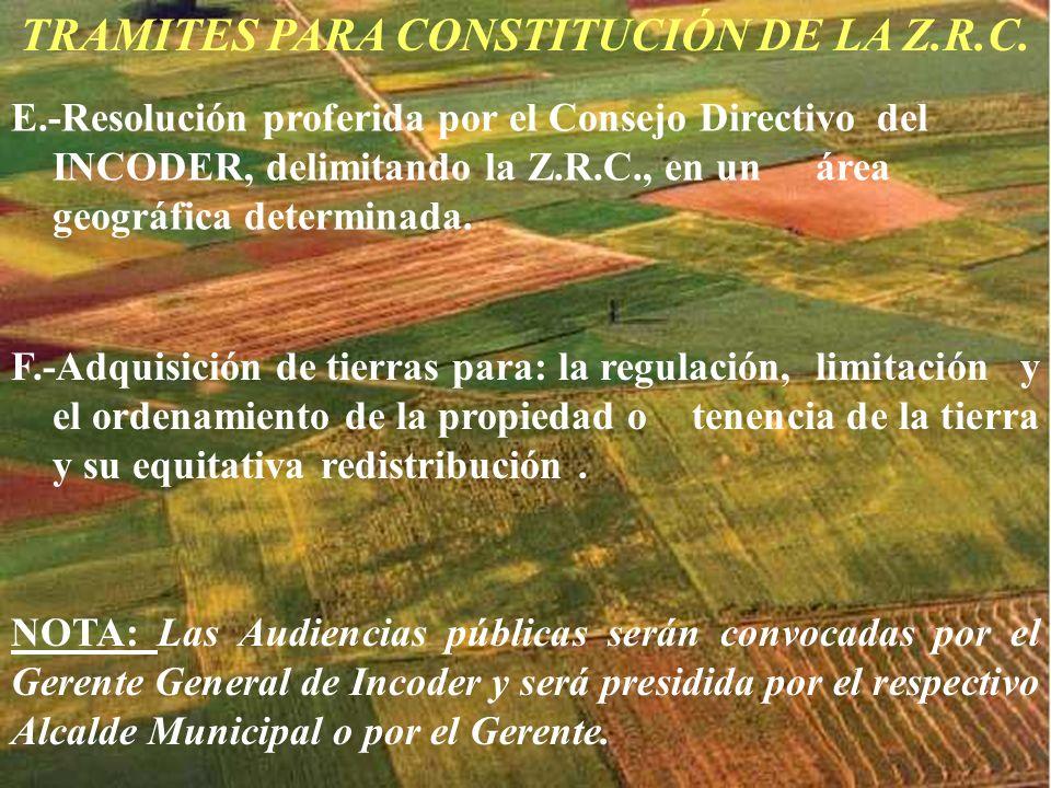 TRAMITES PARA CONSTITUCIÓN DE LA Z.R.C. E.-Resolución proferida por el Consejo Directivo del INCODER, delimitando la Z.R.C., en un área geográfica det