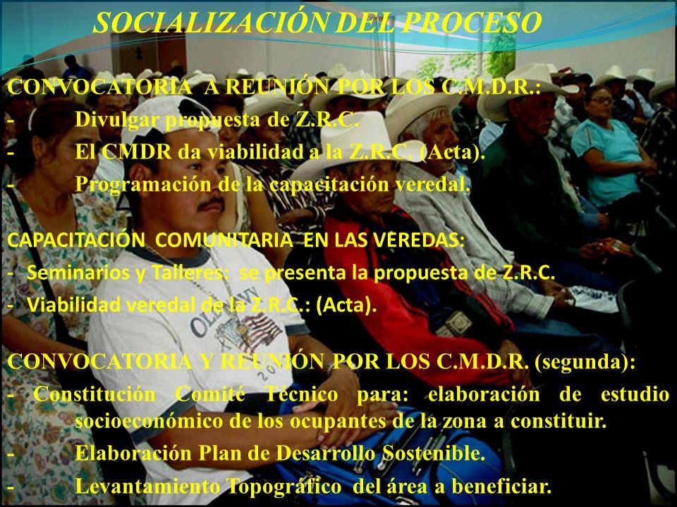 SOCIALIZACIÓN DEL PROCESO CAPACITACIÓN COMUNITARIA EN LAS VEREDAS: - Seminarios y Talleres: se presenta la propuesta de Z.R.C. - Viabilidad veredal de