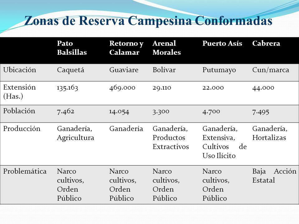 Zonas de Reserva Campesina Conformadas Pato Balsillas Retorno y Calamar Arenal Morales Puerto AsísCabrera UbicaciónCaquetáGuaviareBolívarPutumayoCun/marca Extensión (Has.) 135.163469.00029.11022.00044.000 Población7.46214.0543.3004.7007.495 ProducciónGanadería, Agricultura GanaderíaGanadería, Productos Extractivos Ganadería, Extensiva, Cultivos de Uso Ilícito Ganadería, Hortalizas ProblemáticaNarco cultivos, Orden Público Baja Acción Estatal