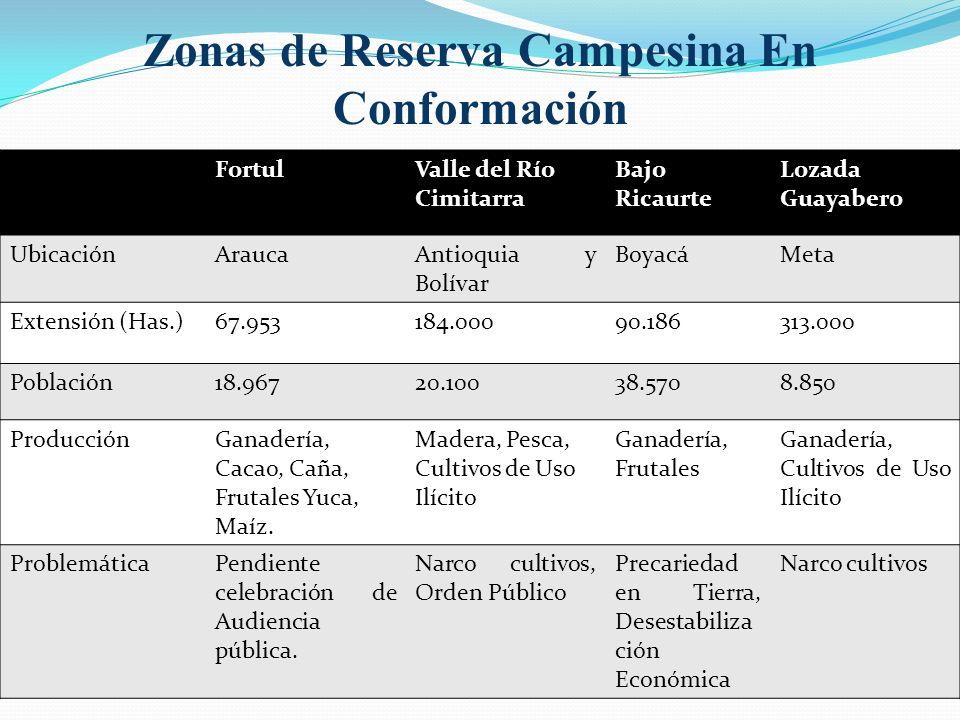 Zonas de Reserva Campesina En Conformación FortulValle del Río Cimitarra Bajo Ricaurte Lozada Guayabero UbicaciónAraucaAntioquia y Bolívar BoyacáMeta Extensión (Has.)67.953184.00090.186313.000 Población18.96720.10038.5708.850 ProducciónGanadería, Cacao, Caña, Frutales Yuca, Maíz.