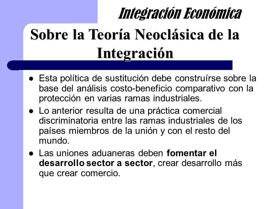 Esta política de sustitución debe construírse sobre la base del análisis costo-beneficio comparativo con la protección en varias ramas industriales. L