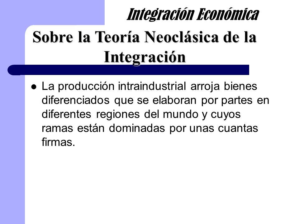 La producción intraindustrial arroja bienes diferenciados que se elaboran por partes en diferentes regiones del mundo y cuyos ramas están dominadas po