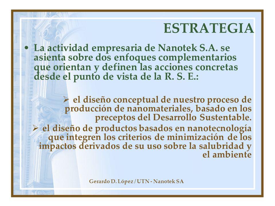 Gerardo D. López / UTN - Nanotek SA ESTRATEGIA La actividad empresaria de Nanotek S.A. se asienta sobre dos enfoques complementarios que orientan y de