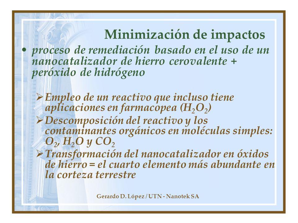 Gerardo D. López / UTN - Nanotek SA Minimización de impactos proceso de remediación basado en el uso de un nanocatalizador de hierro cerovalente + per