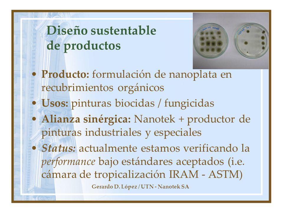 Gerardo D. López / UTN - Nanotek SA Diseño sustentable de productos Producto: formulación de nanoplata en recubrimientos orgánicos Usos: pinturas bioc
