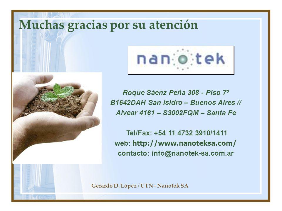 Gerardo D. López / UTN - Nanotek SA Muchas gracias por su atención Roque Sáenz Peña 308 - Piso 7º B1642DAH San Isidro – Buenos Aires // Alvear 4161 –