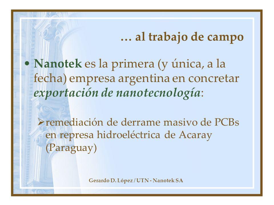 Gerardo D. López / UTN - Nanotek SA … al trabajo de campo Nanotek es la primera (y única, a la fecha) empresa argentina en concretar exportación de na