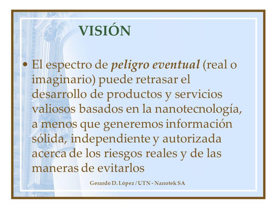 Gerardo D. López / UTN - Nanotek SA VISIÓN El espectro de peligro eventual (real o imaginario) puede retrasar el desarrollo de productos y servicios v