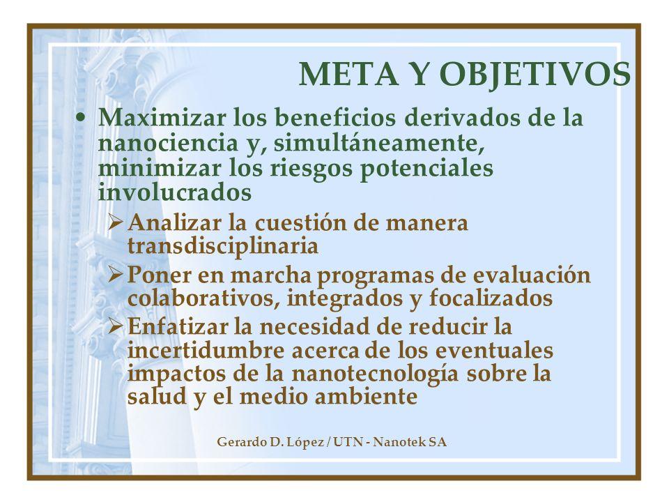 Gerardo D. López / UTN - Nanotek SA META Y OBJETIVOS Maximizar los beneficios derivados de la nanociencia y, simultáneamente, minimizar los riesgos po