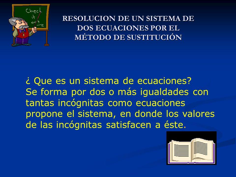 RESOLUCION DE UN SISTEMA DE DOS ECUACIONES POR EL MÉTODO DE SUSTITUCIÓN ¿ Que es un sistema de ecuaciones? Se forma por dos o más igualdades con tanta