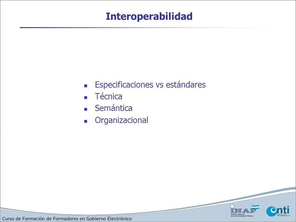 Interoperabilidad Especificaciones vs estándares Técnica Semántica Organizacional