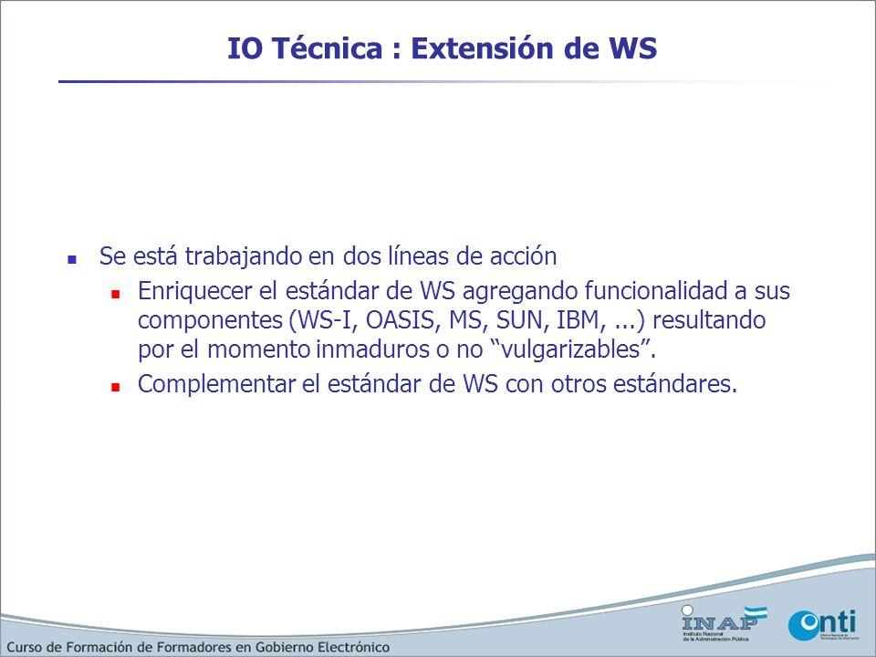 IO Técnica : Extensión de WS Se está trabajando en dos líneas de acción Enriquecer el estándar de WS agregando funcionalidad a sus componentes (WS-I,