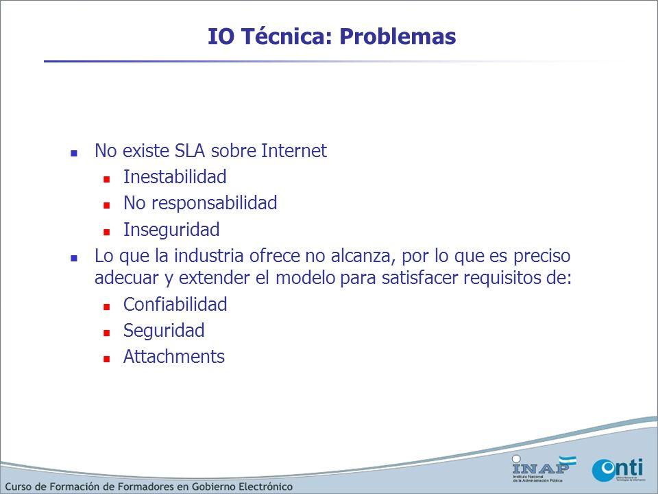 IO Técnica: Problemas No existe SLA sobre Internet Inestabilidad No responsabilidad Inseguridad Lo que la industria ofrece no alcanza, por lo que es p