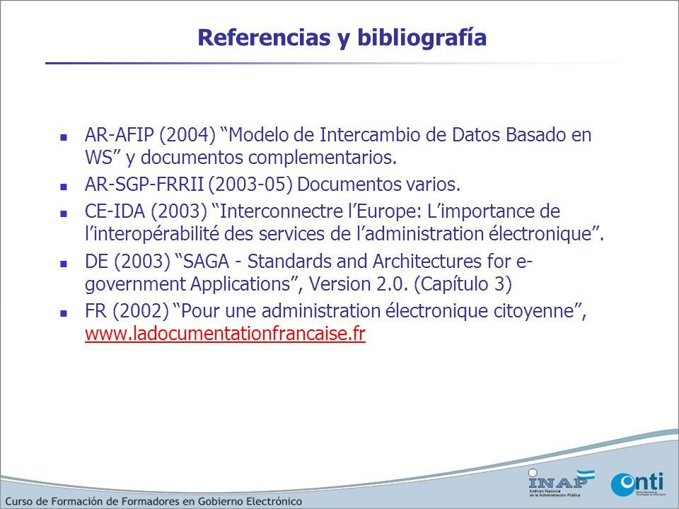 Referencias y bibliografía AR-AFIP (2004) Modelo de Intercambio de Datos Basado en WS y documentos complementarios. AR-SGP-FRRII (2003-05) Documentos