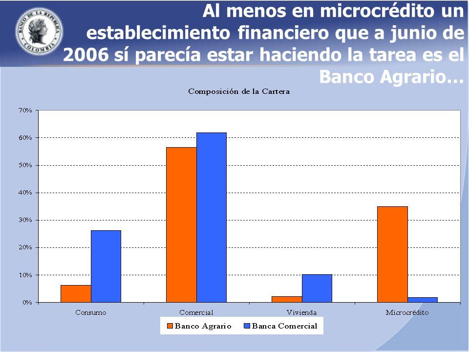 Al menos en microcrédito un establecimiento financiero que a junio de 2006 sí parecía estar haciendo la tarea es el Banco Agrario…
