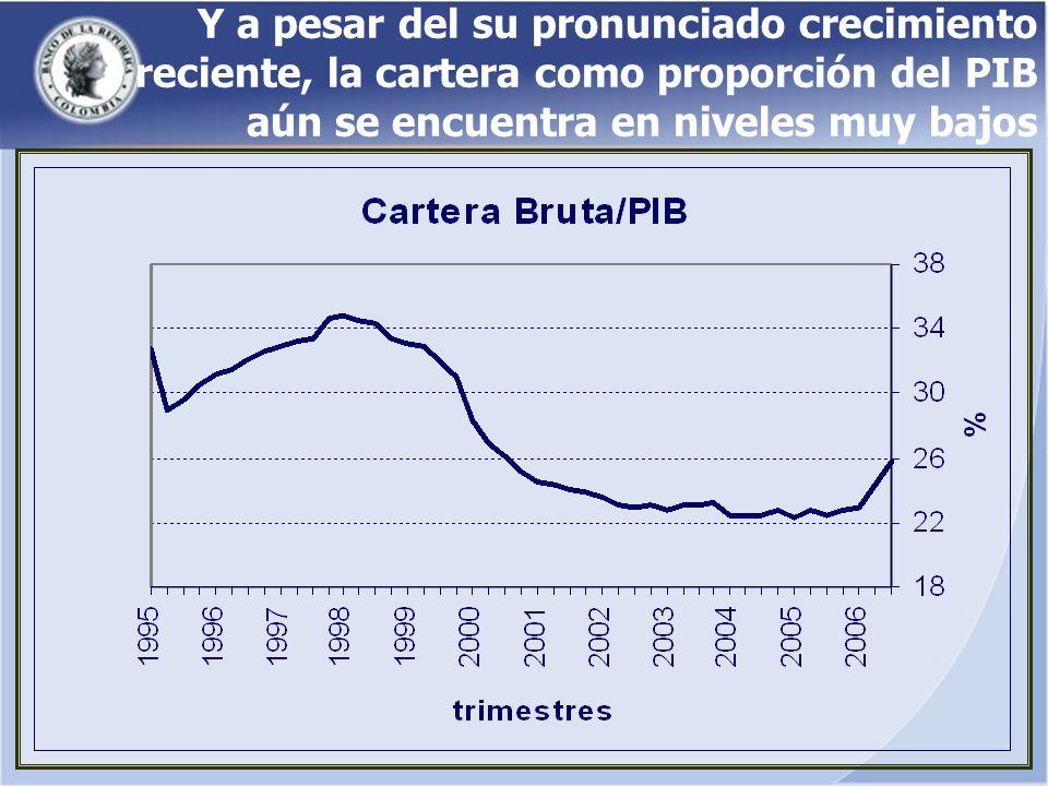 Y a pesar del su pronunciado crecimiento reciente, la cartera como proporción del PIB aún se encuentra en niveles muy bajos
