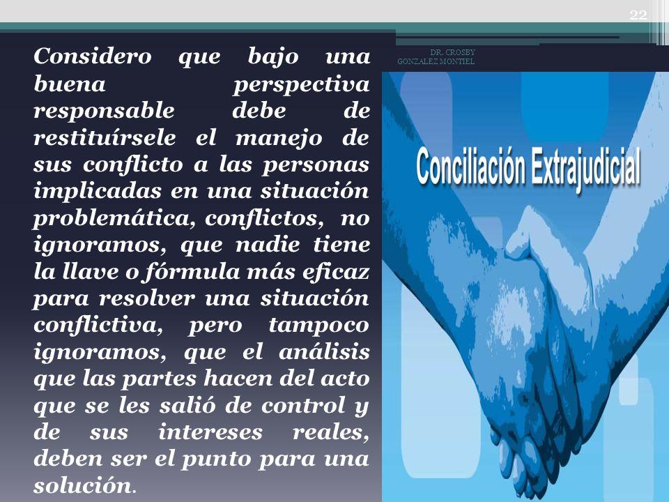 Considero que bajo una buena perspectiva responsable debe de restituírsele el manejo de sus conflicto a las personas implicadas en una situación probl