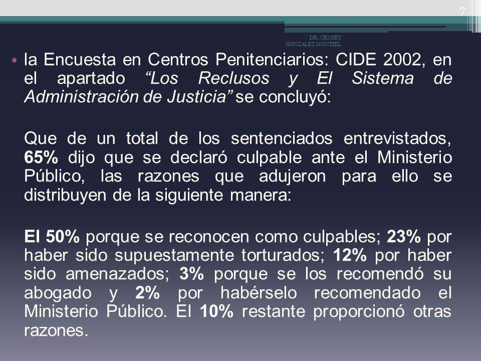 la Encuesta en Centros Penitenciarios: CIDE 2002, en el apartado Los Reclusos y El Sistema de Administración de Justicia se concluyó: Que de un total