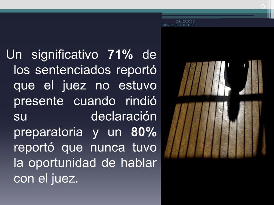 Miguel Carbonell, menciona: que del 99% de los delincuentes no terminan condenado, 92% de las audiencias en los procesos penales se desarrollan son la presencia del juez, el 40% de los presos no han recibido una sentencia condenatoria, el 80% de los detenidos nunca habló con el juez que lo condeno.