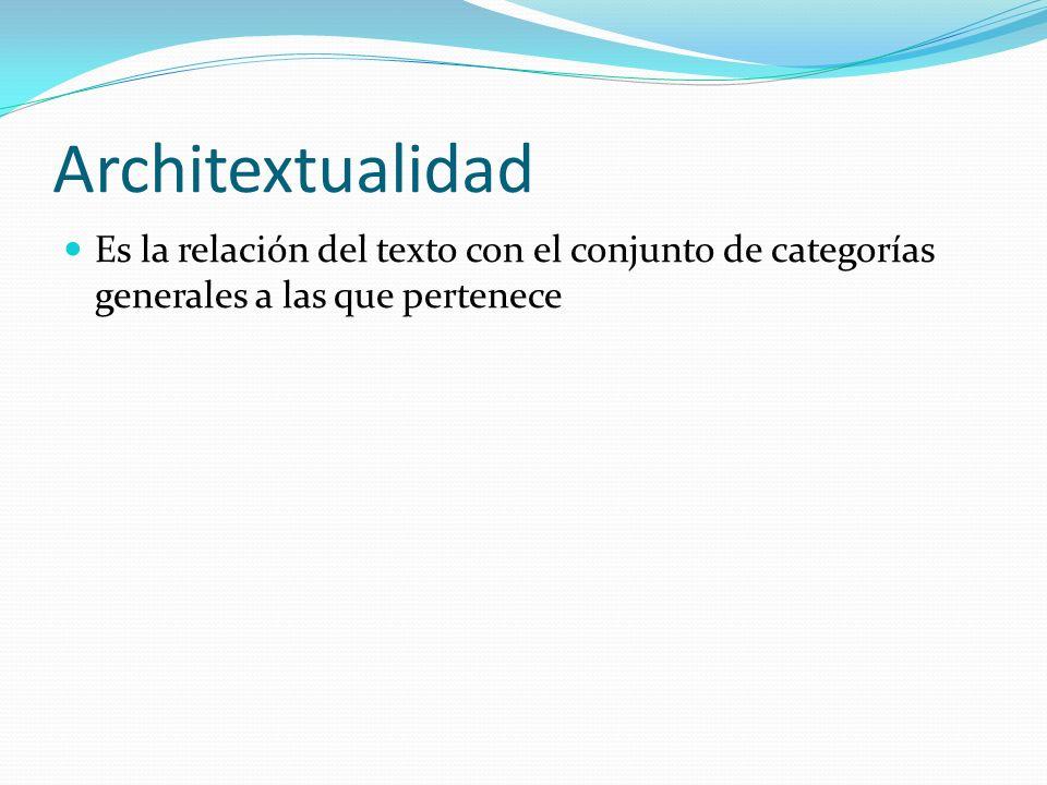 Architextualidad Es la relación del texto con el conjunto de categorías generales a las que pertenece
