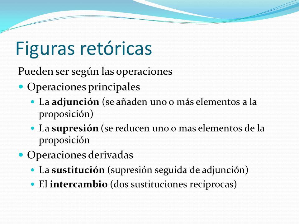 Figuras retóricas Pueden ser según las operaciones Operaciones principales La adjunción (se añaden uno o más elementos a la proposición) La supresión