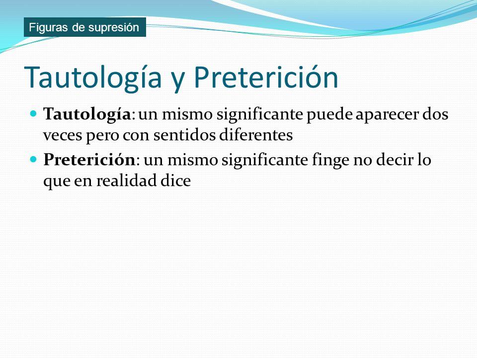 Tautología y Preterición Tautología: un mismo significante puede aparecer dos veces pero con sentidos diferentes Preterición: un mismo significante fi