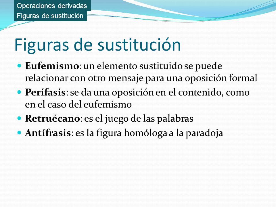 Figuras de sustitución Eufemismo: un elemento sustituido se puede relacionar con otro mensaje para una oposición formal Perífasis: se da una oposición