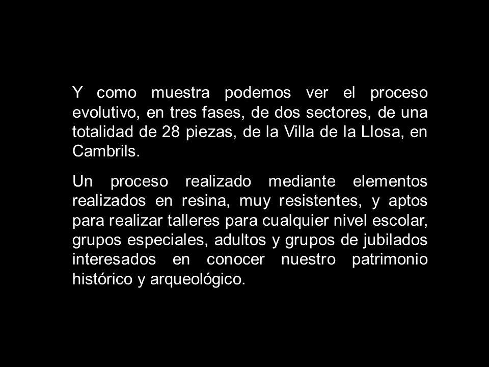 Y como muestra podemos ver el proceso evolutivo, en tres fases, de dos sectores, de una totalidad de 28 piezas, de la Villa de la Llosa, en Cambrils.