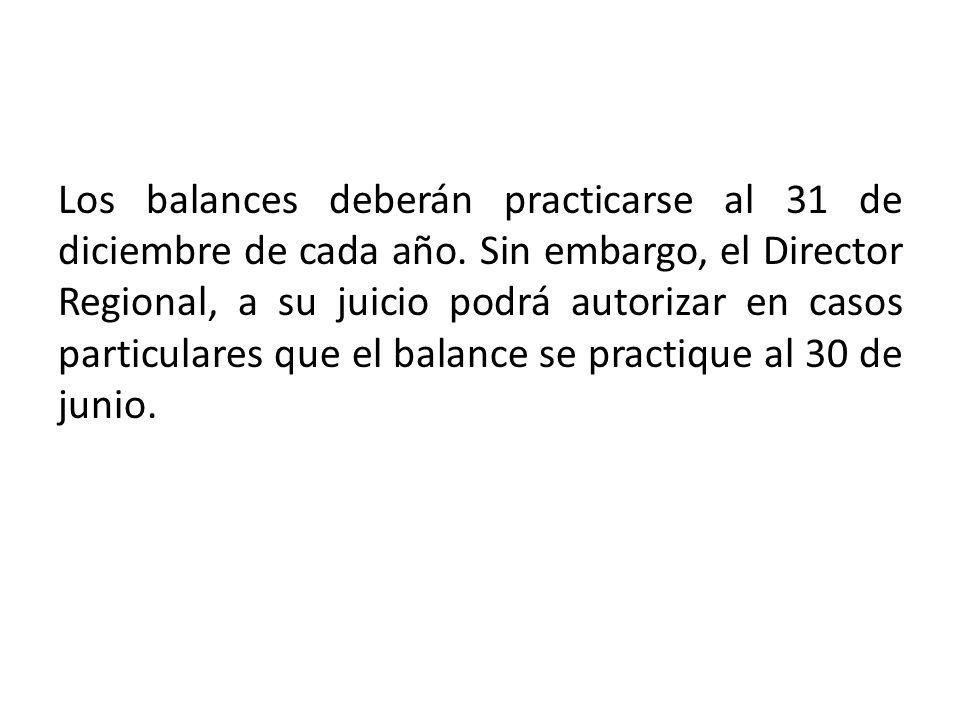 Los balances deberán practicarse al 31 de diciembre de cada año.