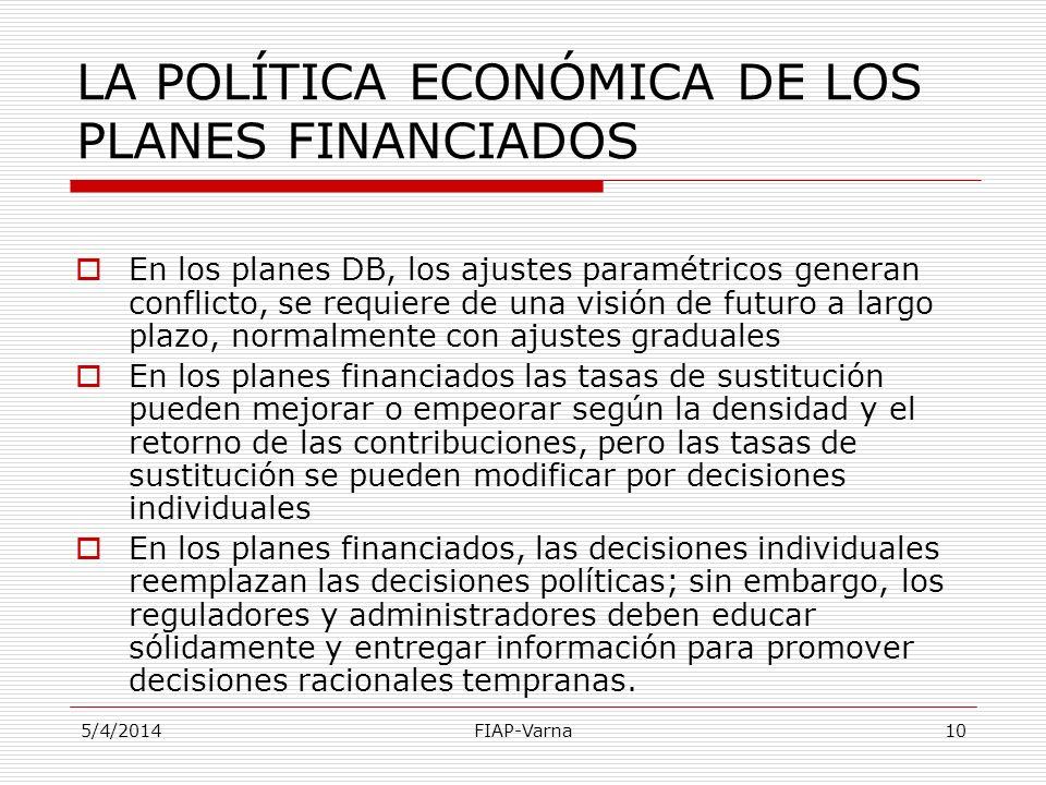 5/4/2014FIAP-Varna10 LA POLÍTICA ECONÓMICA DE LOS PLANES FINANCIADOS En los planes DB, los ajustes paramétricos generan conflicto, se requiere de una